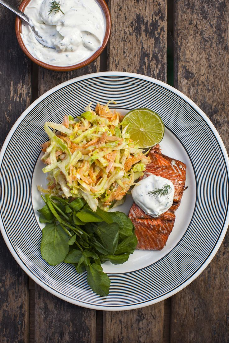 A cool and creamy yoghurt dressing and salmon...A match made in heaven!