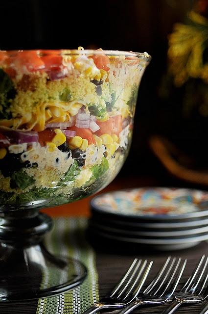 Layered Cornbread Salad.