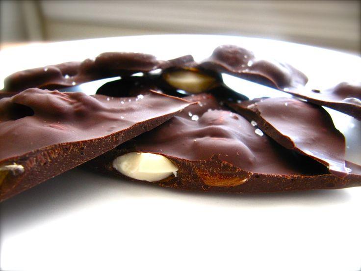 Chocolate almond bark with sea salt. http://stiritblog.blogspot.com ...