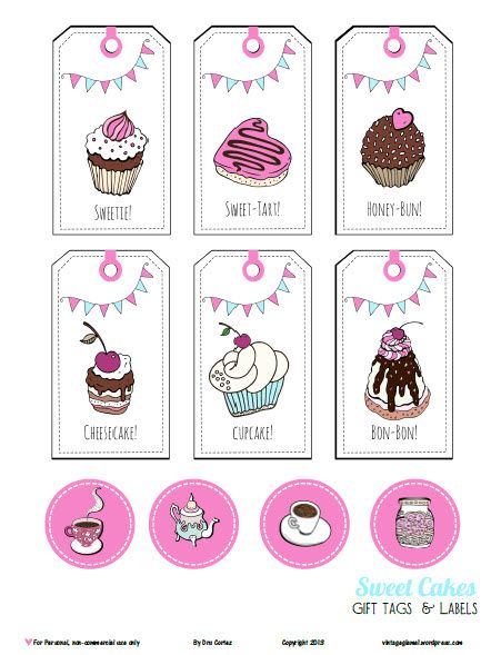 Free printable pdf download of sweetcakes tags and labels for food gifts or other papercraft use. Free for personal use only.