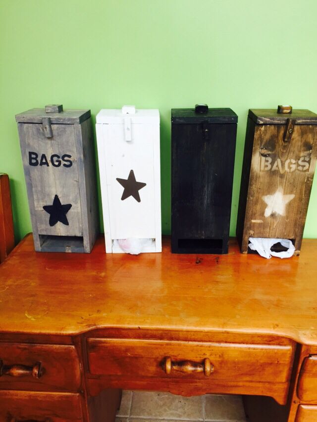 Primitive Wood Plastic Grocery Bag Holder Keep All Your Recycled Bags In One Place Grocery
