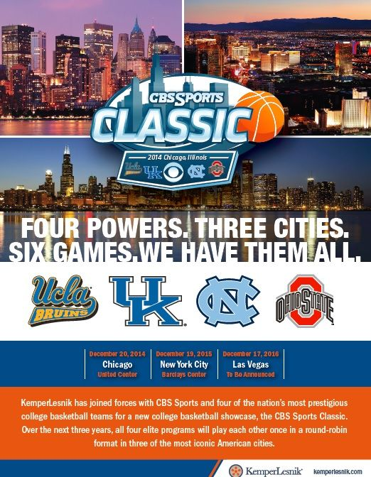 @KemperLesnik has joined forces with @CBS Sports and 4 of the nationals most prestigious college #basketball teams for the #CBSSportsClassic. 4Powers. 3Cities. 6Games. @UCLA Athletics  @University of Kentucky  @University of North Carolina at Chapel Hill  #OhioState