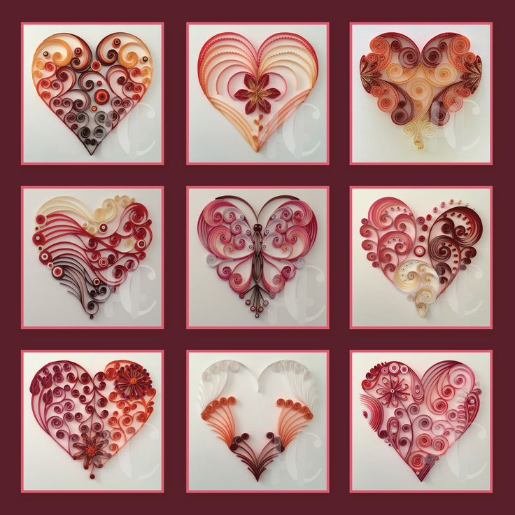 393 best quilling hearts images on pinterest paper for Quilling heart designs