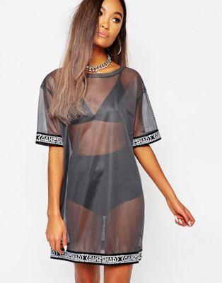 Полупрозрачное сетчатое платье-футболка Shade London