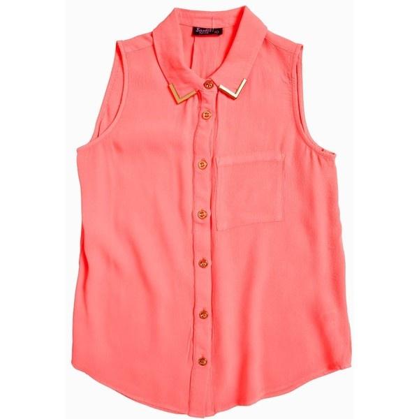 Bardot Junior Sleeveless Collar Tipped Shirt ($53) ❤ liked on Polyvore