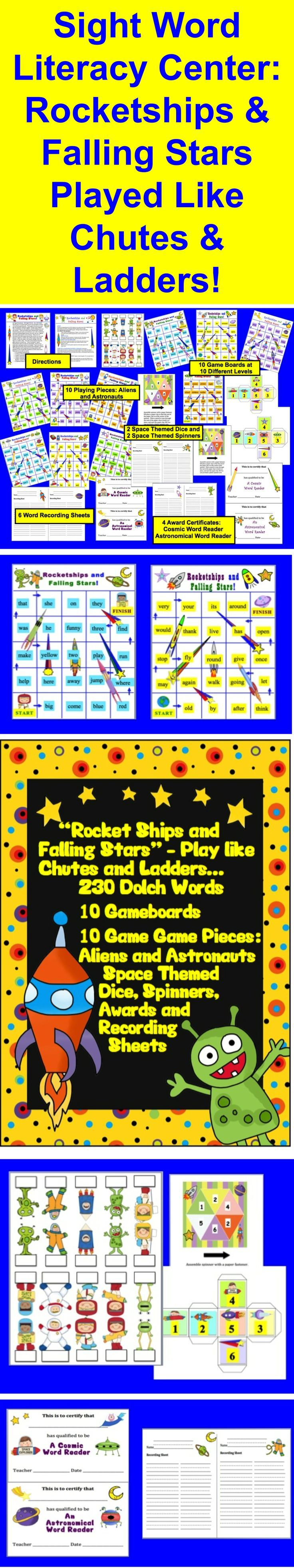 "$ Sight Words Dolch Sight Words Literacy Centers Activities - 22 Page Download - 230 Sight Words - ALL 220 Dolch Words plus 10 of the Dolch nouns are included on these 10 levelized gameboards. These game boards are used like the popular children's game ""Chutes and Ladders"". The rocket ships are like ladders, and the falling stars are the chutes! I have provided space themed dice, spaced themed spinners and space themed game pieces, but you can use regular dice and game pieces if you choose."