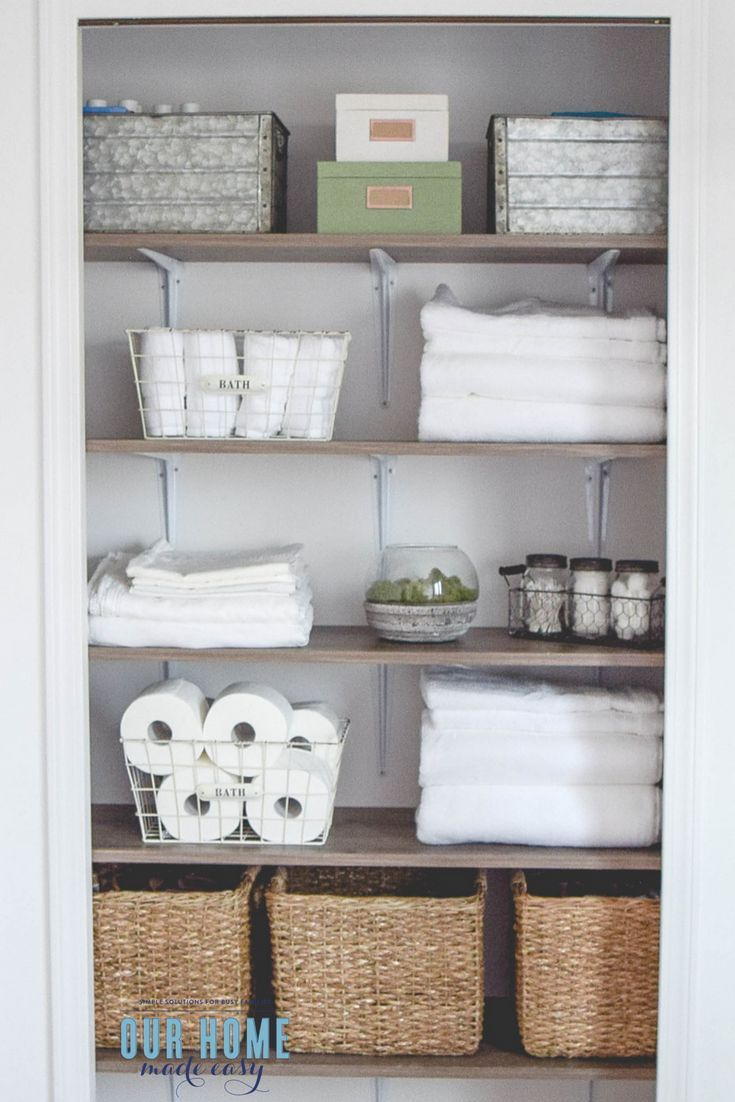 A Diy But Custom Shelving System For Linen Closet Makeover Check Out The Organizational Ideas And How To Your Own Shelves