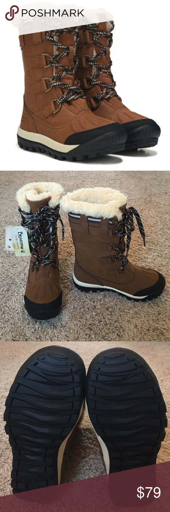 New BearPaw Boots Waterproof • True to size • Leather/synthetic upper • Wool blend lining • Sheepskin footbed • Very cozy  Thanks for looking  BearPaw Shoes Winter & Rain Boots