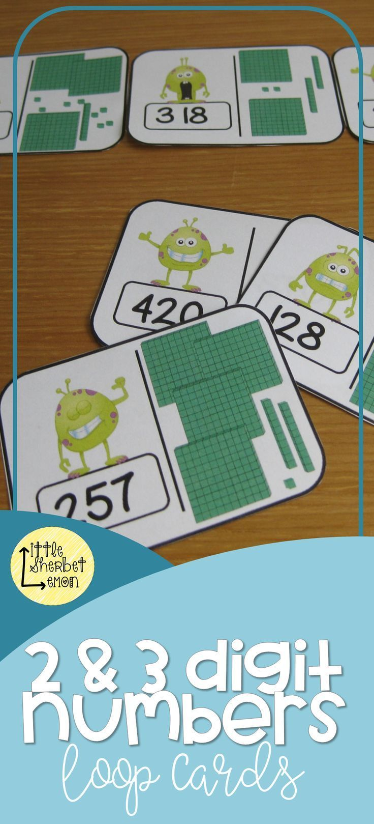 32 Space Themed Loop Cards Which Link 2 Digit Numbers With Base 10 Apparatus And 32 Monster Themed Loop Cards W 2nd Grade Activities 1st Grade Math Games Cards [ 1619 x 736 Pixel ]