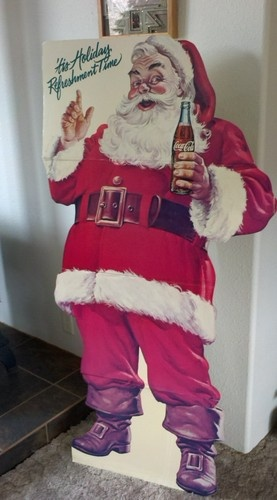 vintage coca cola santa cardboard advertising cutout full size christmas