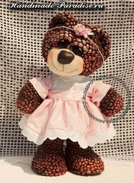 Медведи из папье-маше и кофейных зерен - coffee  toy