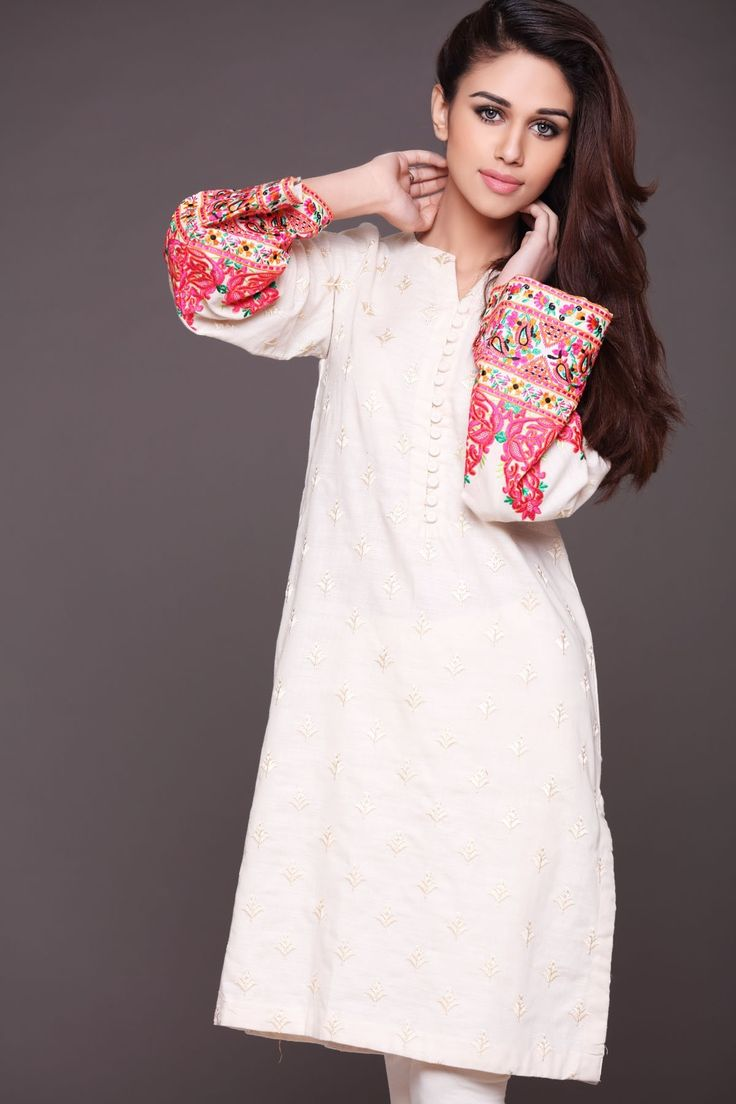Pakistani Designer Dresses - Lowest Prices - White Fully Embroidred Dress by Origins - Dresses - Latest Pakistani Fashion