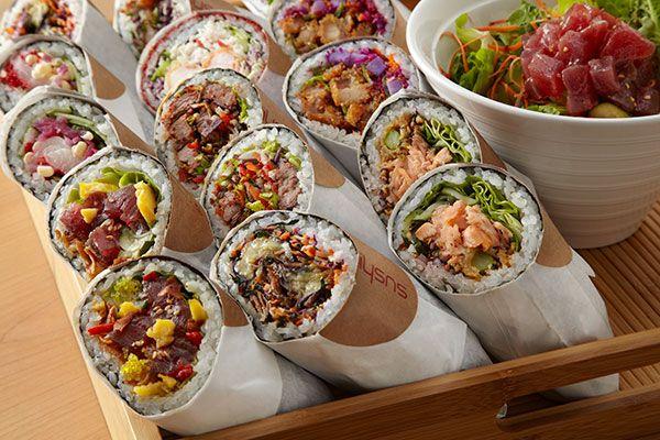 Sushirrito. Mixture of sushi and burrito. Restaurant in Palo Alto and SF.