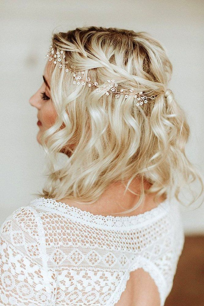 33 Stylish Wedding Hairstyles With Hair Down Wedding Forward Short Wedding Hair Bride Hairstyles Bridal Hair Inspiration