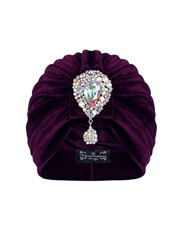 Purple Velvet Turban with Contrasting Hanging por TheFHBoutique, £25.00