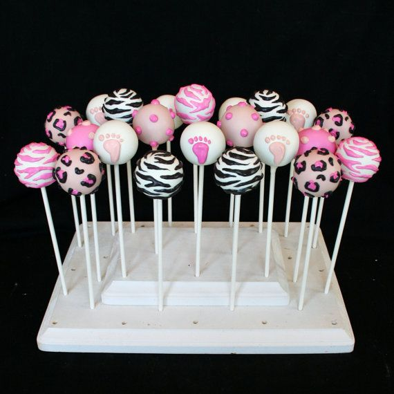 12 Zebra Print Cake Pops for Jungle Zoo Animal by SweetWhimsyShop