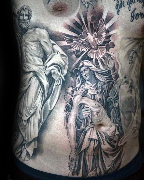 Holy Spirit Virgin Mary Mens Stomach Tattoo