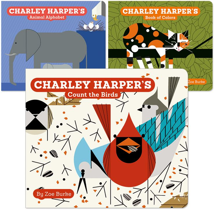 """Charley Harper's brightly rendered illustrations of animals and insects offer the perfect primer for learning, as well as pure read-aloud fun. These three charming board books introduce youngsters to colors, numbers, and letters through Harper's bold images and  Zoe Burke's playful, rhyming text. Bundle includes the following titles: <a href=""""a249.html"""" target=""""_blank""""><em>Charley Harper's Book of Colors</em></a>, &lt..."""