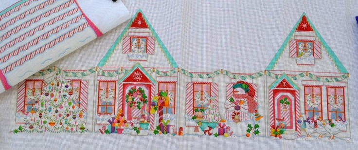 Peppermint Stick 3-D House; Melissa Shirley MS 1086I; 18 count; 42 x 19 & 18 x 23; $300