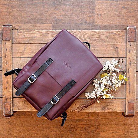 Рюкзак из кожи бордового цвета от LOKIS