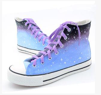 Harajuku graffiti gradient color galaxy students canvas shoes