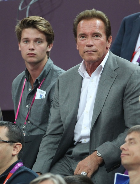 Actor Arnold Schwarzenegger and his son Patrick Schwarzenegger, 2012