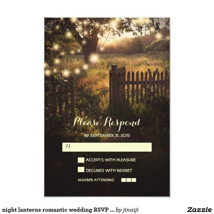 night lanterns romantic wedding RSVP card 9