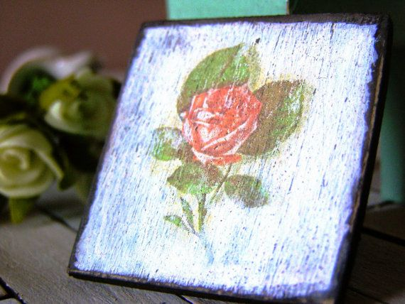 Shabby dollhouse picture dollhouse sign pink rose  by DewdropMinis