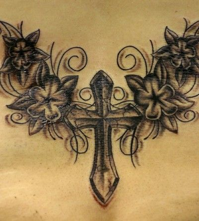 Cross Tattoos - Possibly with different flowers.