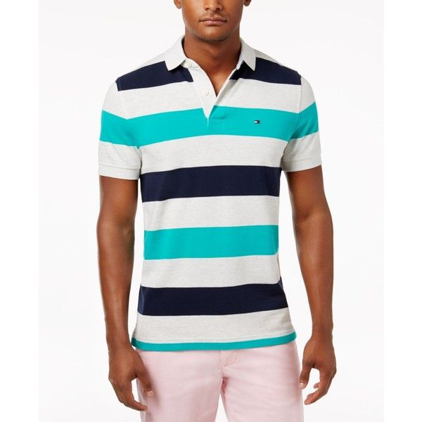 Tommy Hilfiger Men's Classic-Fit Striped Cotton Polo (€54) ❤ liked on Polyvore featuring men's fashion, men's clothing, men's shirts, men's polos, spectra green multi, mens cotton shirts, mens polo shirts, mens classic fit shirts, tommy hilfiger mens shirts and mens striped shirt