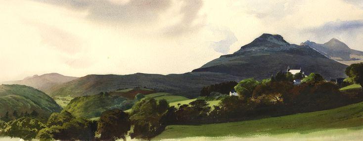 Eglwys Llan Ffestiniog and the Moelwyns, an original watercolour painting by Rob Piercy