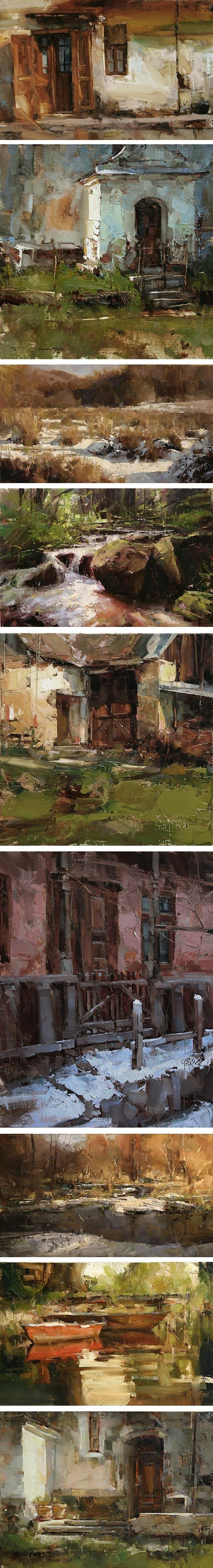 Tibor Nagy is an artist from Slovakia who paints plein air landscapes and townscapes with brusque, rough edged shards and chunks of color.