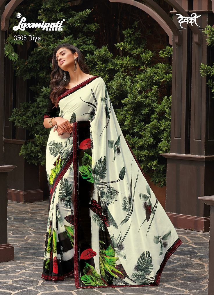 Stand out from the crowd with off white-black georgette vintage look saree!.