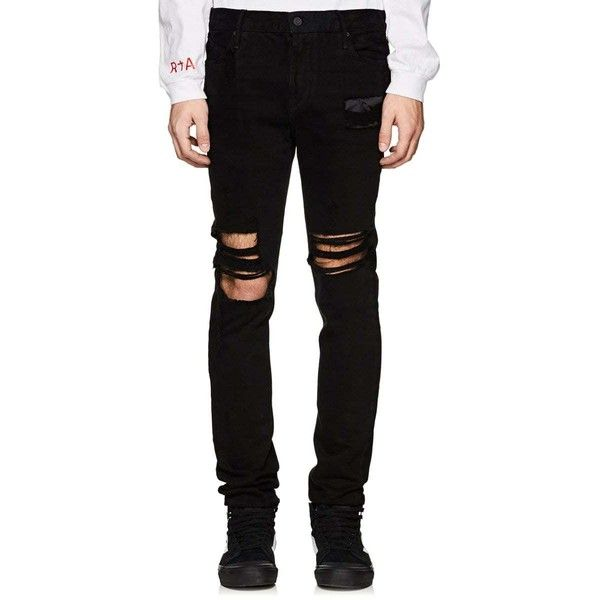 RtA Men's Distressed Skinny Jeans (1 090 PLN) ❤ liked on Polyvore featuring men's fashion, men's clothing, men's jeans, black, mens destroyed skinny jeans, mens distressed jeans, mens distressed skinny jeans, mens super skinny ripped jeans and mens skinny fit jeans