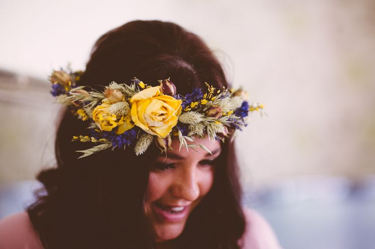 Dried flower bridesmaid headdress using lavender, roses, wheat, love-in-the-mist seed heads and grasses.