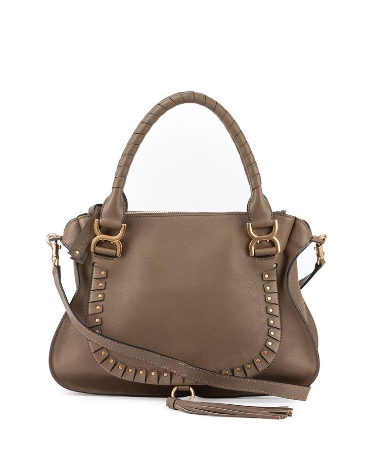 Chloe Marcie satchel in calfskin with brass hardware. Leather-wrapped top…