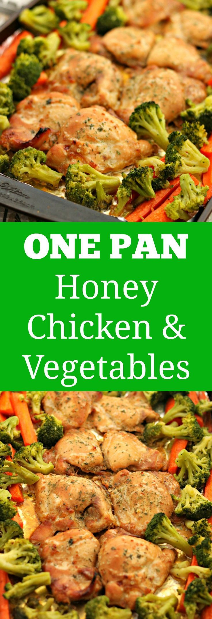 one pan honey chicken thighs and vegetables via www.chocolateslopes.com