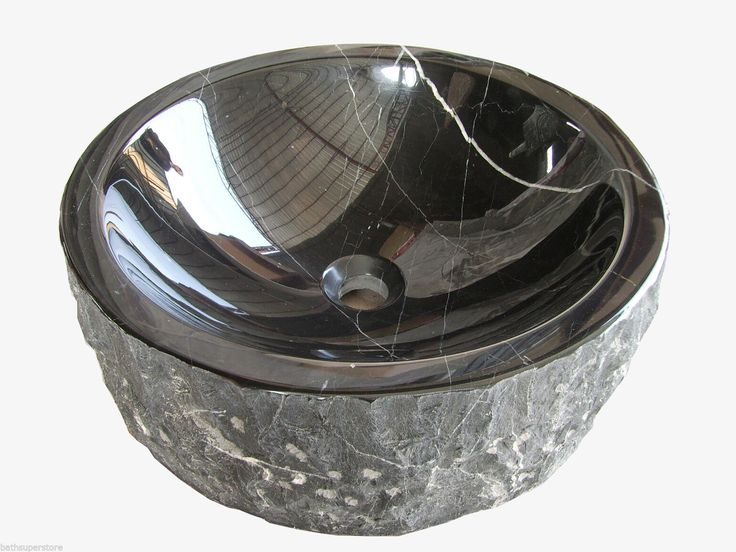 New Modern SINK Solid Stone BLACK MARBLE Round Bowl Counter Top Basin Vanity | eBay