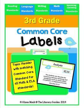 COMMON CORE LABELS {3rd Grade Standards}