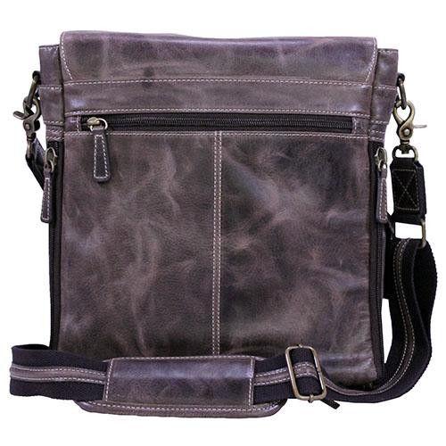 Buffalo Leather - Vertical Messenger Bag, Vintage Brown Distress