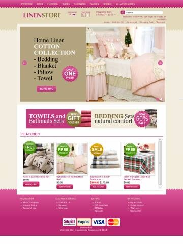 Linen Style OpenCart Theme Template is specially designed for Bed Linen Set. Garmonical colors combination of magenta, gold and beige is the best decorate for Bed Linen Set, Blanket Duvet, Pillow, Towels Bathmats, Cloth Kitchen, Table Сloth, Baby Bed Linen Set. Modern zigzag border. It is very nice with its clean and professional look.