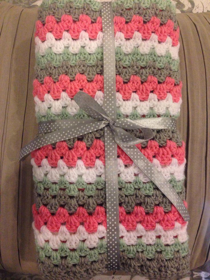 Coral, white, grey and mint Straight line Granny stripe baby blanket.