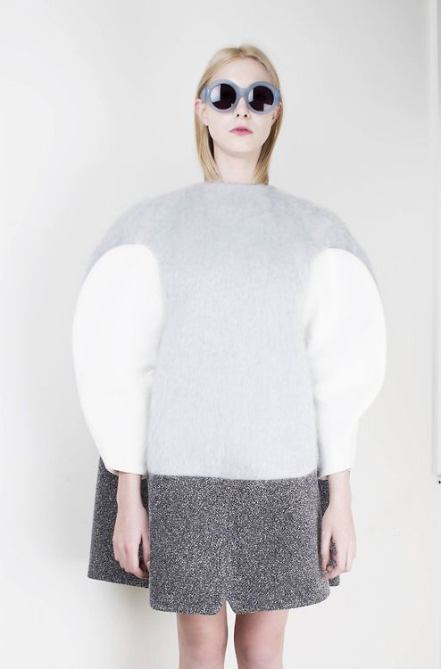 Cocoon Dress - 3D silhouette with spherical shape & volume, both strong & delicate; sculptural fashion // Min Kim