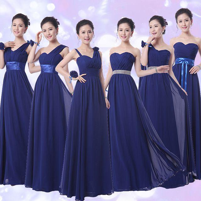 Azul marino Vestidos de Damas de honor Vestidos De Festa Longo Gasa Azul Marino Vestidos de dama de Honor Elegante vestido de Dama de honor menor