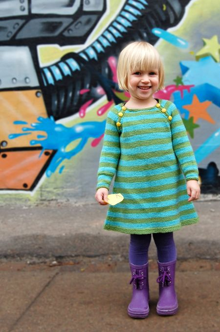 sweater dress.. how cute is this a-line dress for little girls? And I love the contrasting bright buttons for children! Would be easy to make with refashioned sweaters!