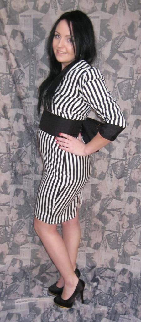 A pin stripe dress i made to wear at Mercedes fashion week Hyde park last year.... Modeled by my friend