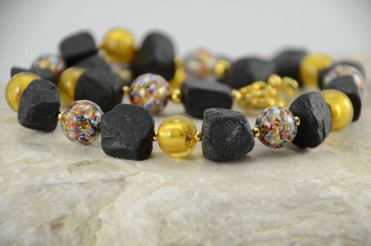 Colliers - MURANO - Collier KUNTERBUNT & GOLD mit Onyx - ein Designerstück von Glitzerland bei DaWanda