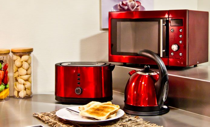 Red appliances for kitchen