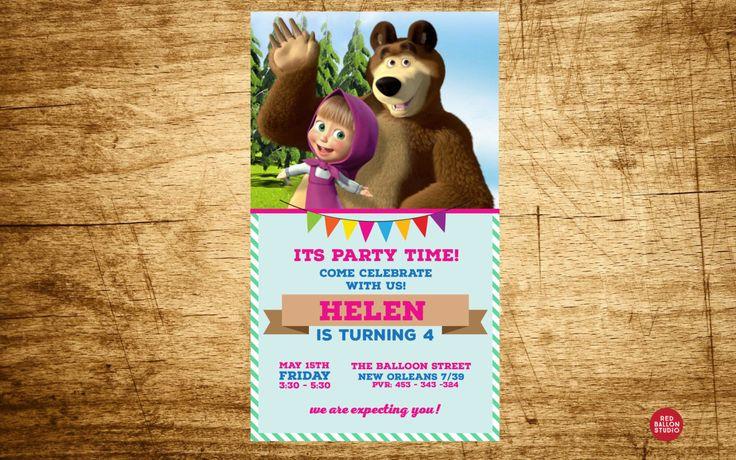 Masha and the Bear Birthday Invitation , Masha and the Bear Birthday Party, Masha and the Bear Invitation,  Digital File, Printable by RedBalloonDesign on Etsy https://www.etsy.com/listing/251351112/masha-and-the-bear-birthday-invitation