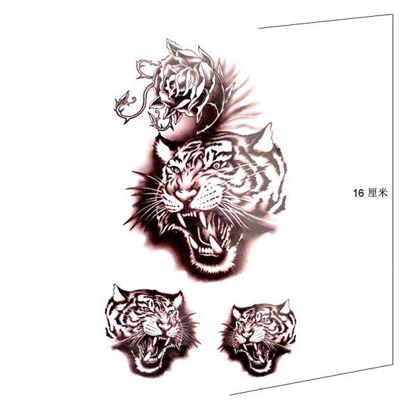 Flower tiger body art arm tattooskin safe tattoo stickerwomen temporary tattoo